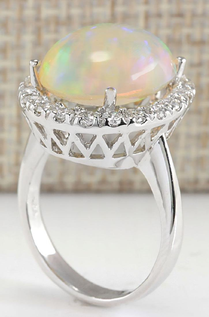 8.30CTW Natural Opal And Diamond Ring 18K Solid White - 3