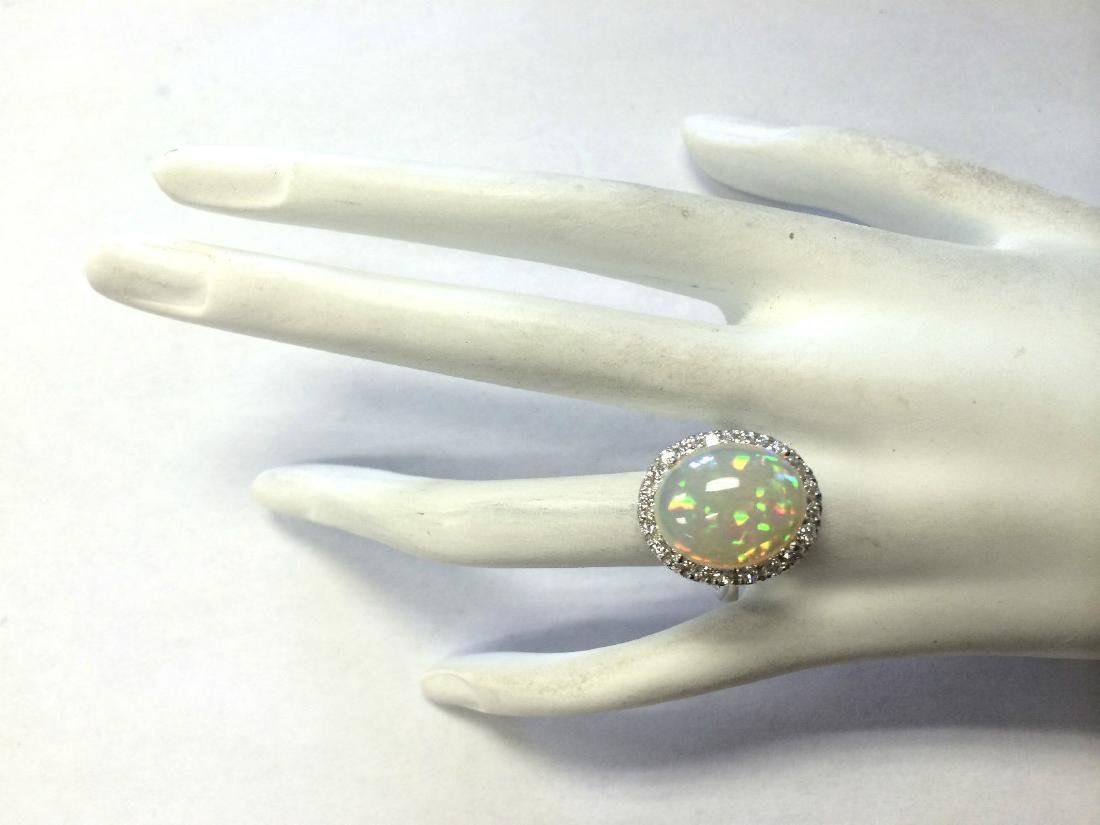 8.30CTW Natural Opal And Diamond Ring 18K Solid White - 4