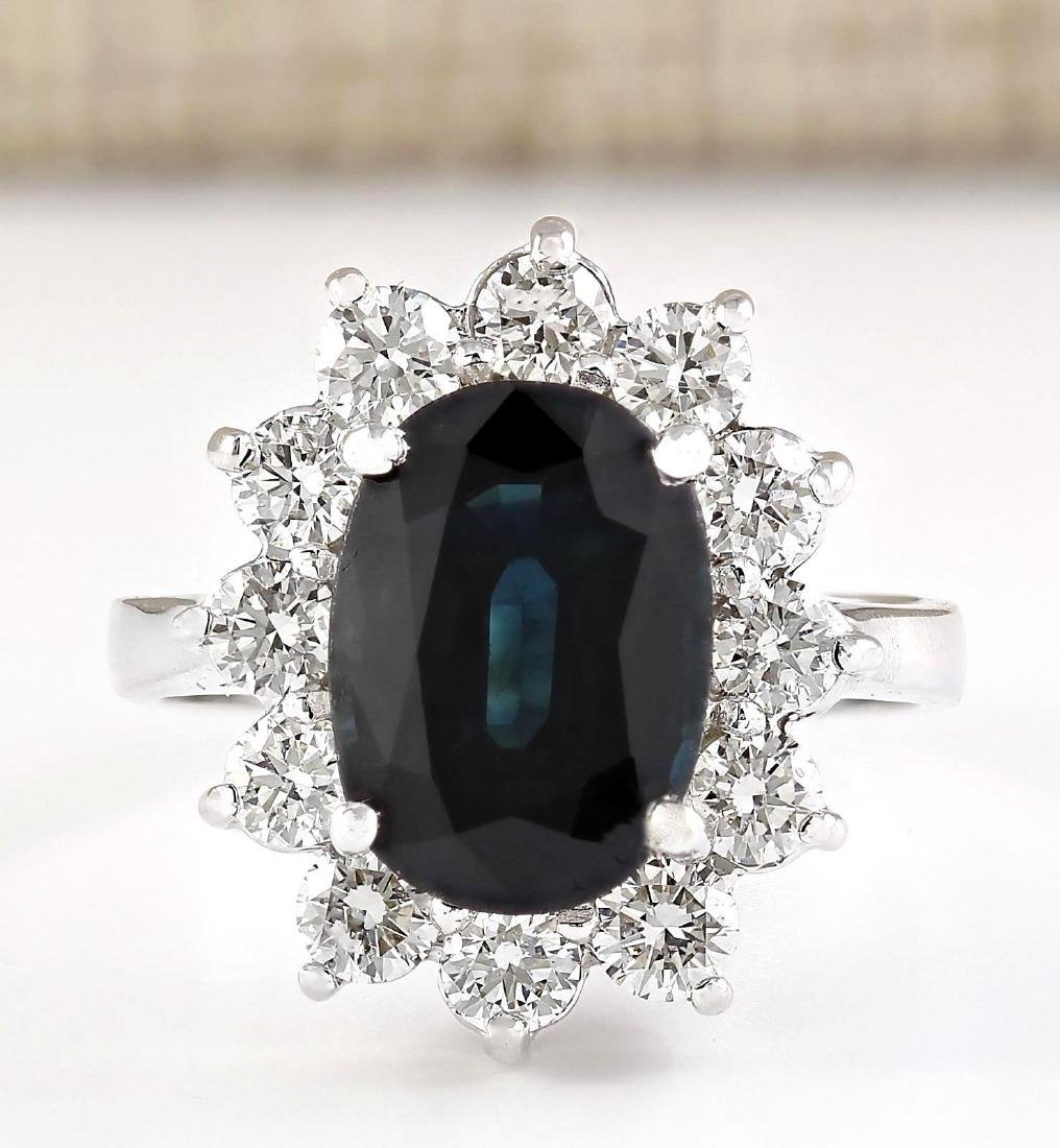 5.77 CTW Natural Blue Sapphire And Diamond Ring In 18K