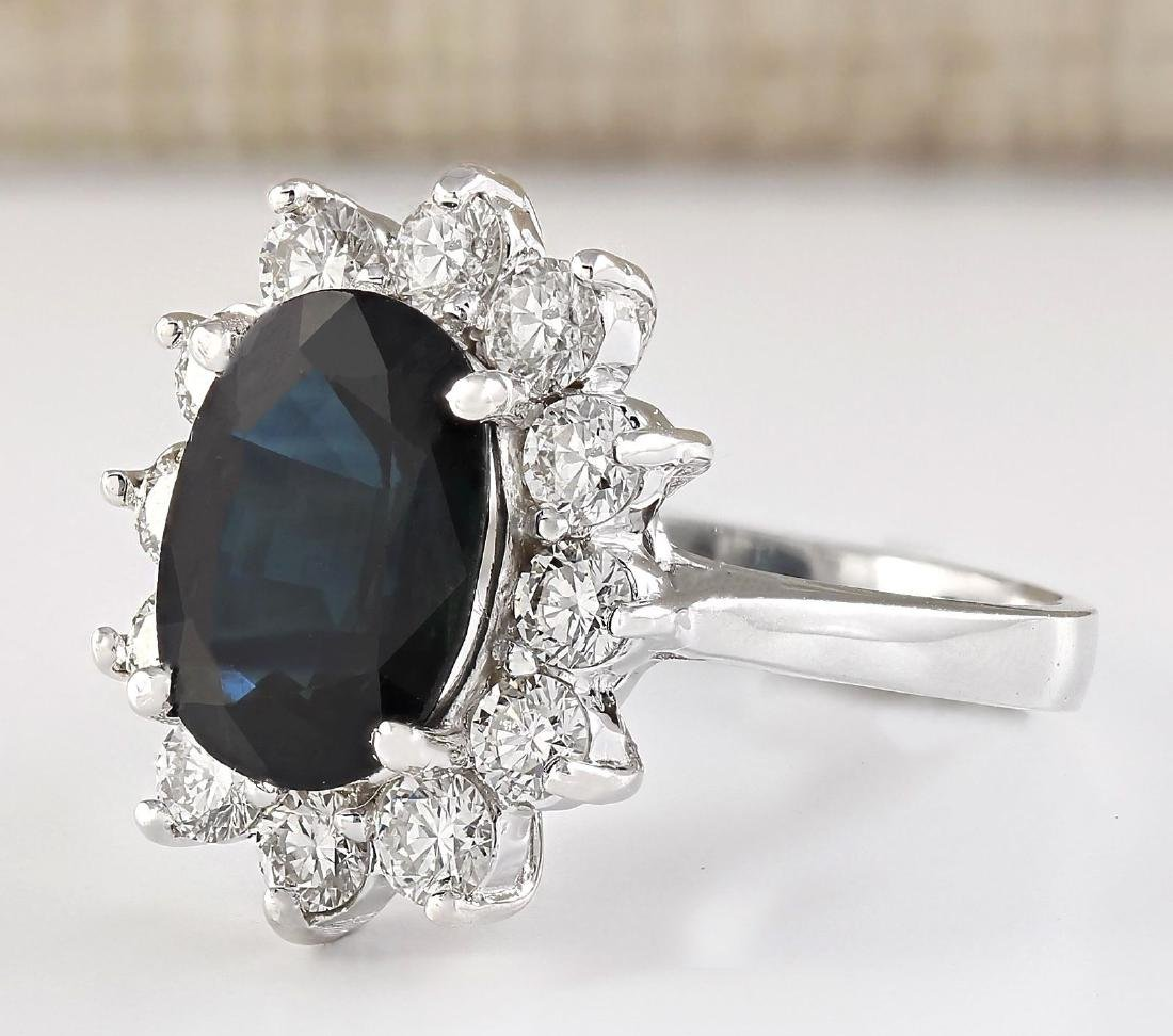 5.77 CTW Natural Blue Sapphire And Diamond Ring In 18K - 2