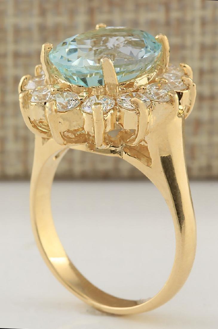7.60CTW Natural Aquamarine And Diamond Ring In 18K - 3