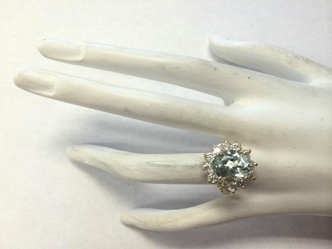 7.60CTW Natural Aquamarine And Diamond Ring In 18K - 4