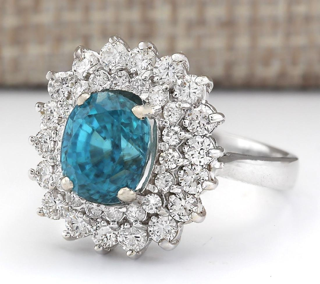 6.24 CTW Natural Blue Zircon And Diamond Ring 18K Solid - 2