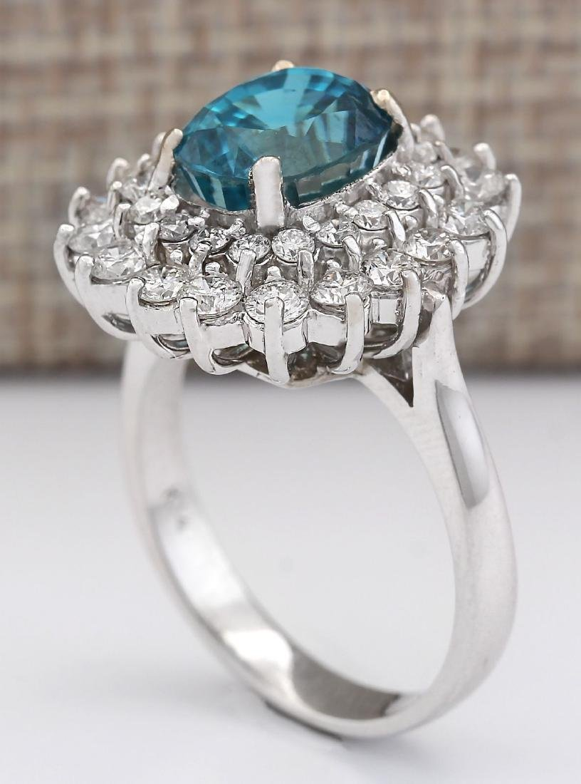 6.24 CTW Natural Blue Zircon And Diamond Ring 18K Solid - 3