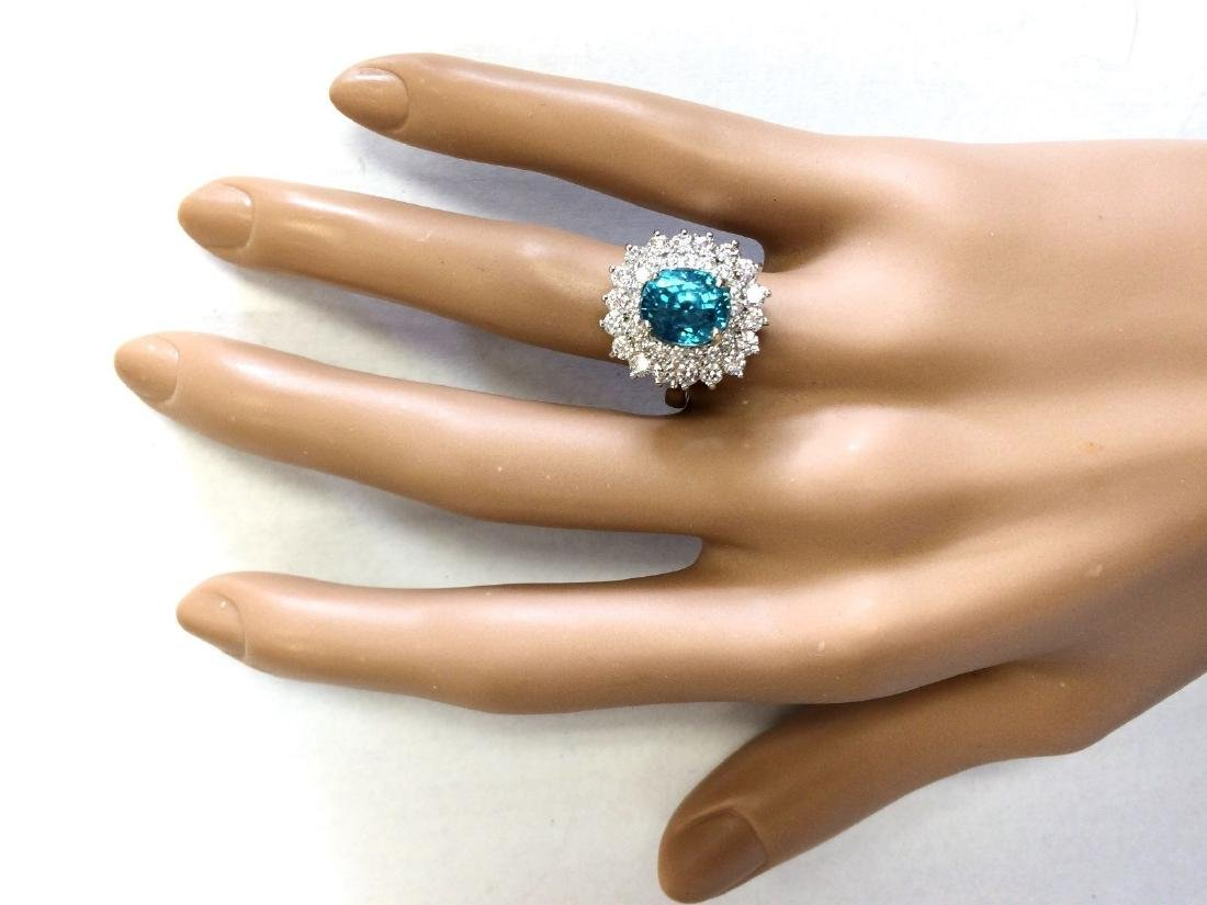 6.24 CTW Natural Blue Zircon And Diamond Ring 18K Solid - 4