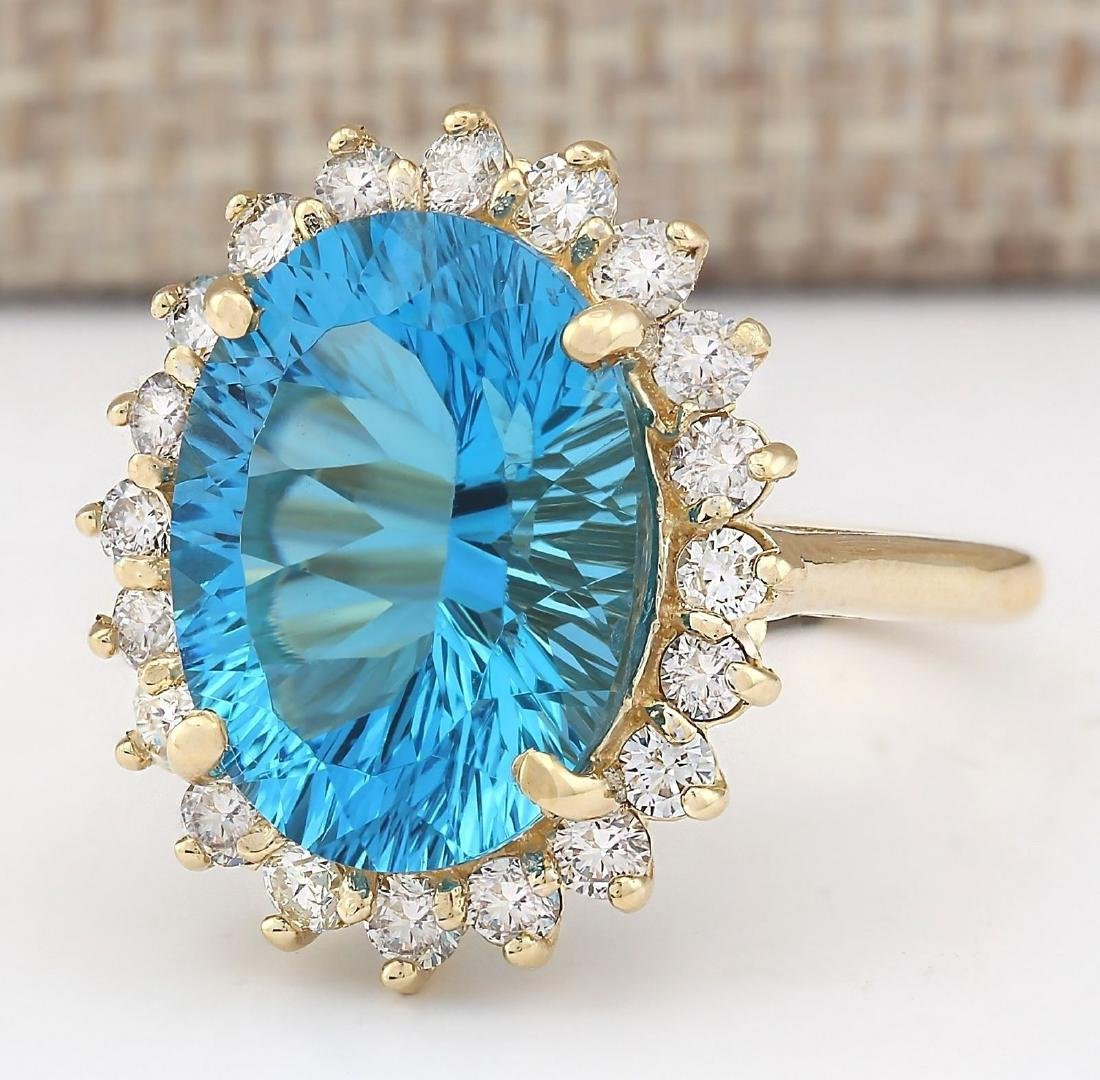 12.63 CTW Natural Blue Topaz And Diamond Ring In 18K - 2