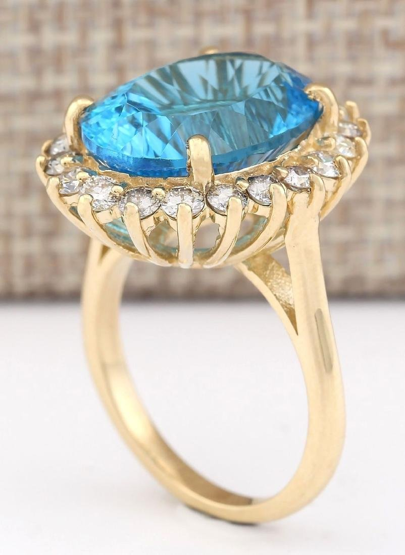 12.63 CTW Natural Blue Topaz And Diamond Ring In 18K - 3