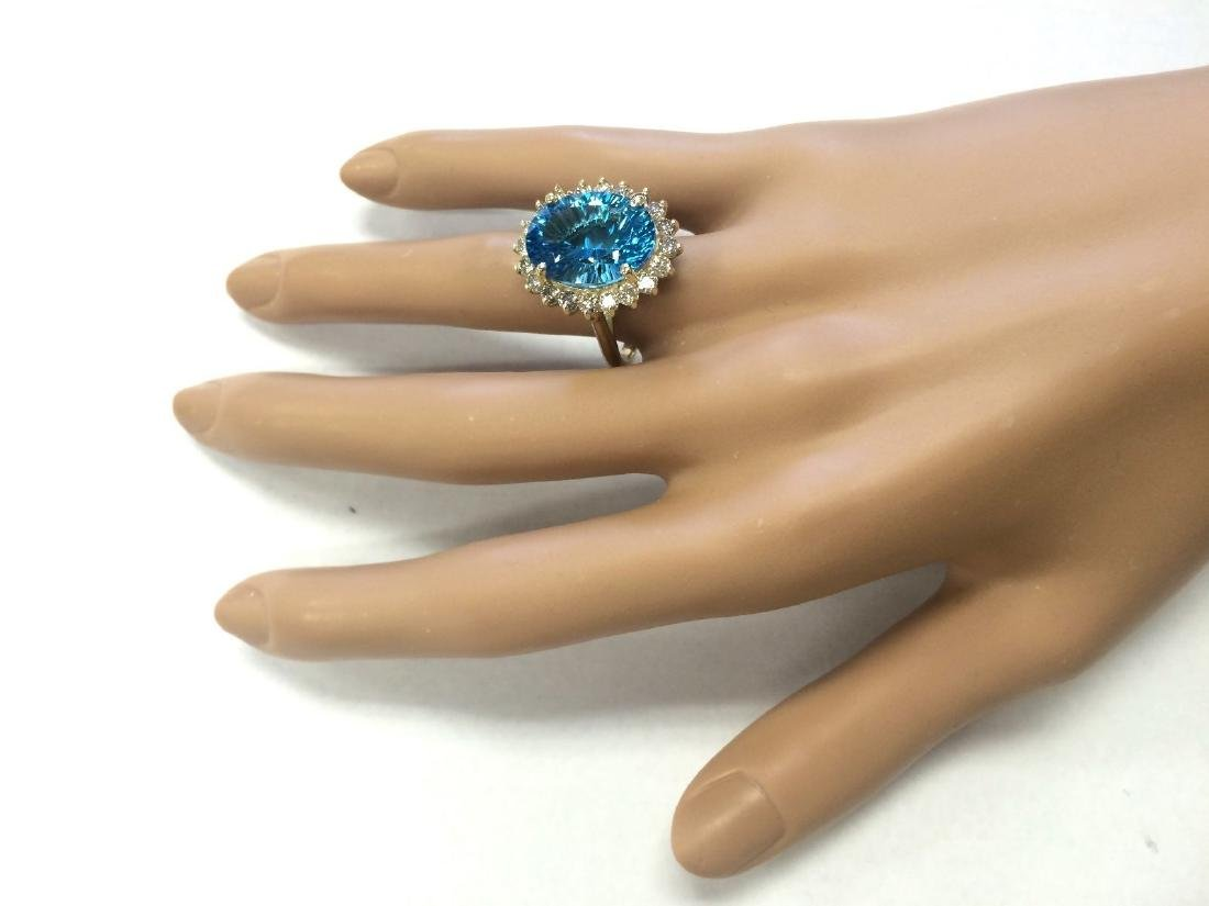 12.63 CTW Natural Blue Topaz And Diamond Ring In 18K - 4