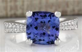 411CTW Natural Blue Tanzanite And Diamond Ring 18K