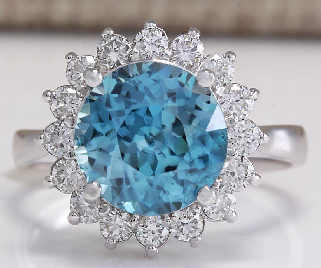5.72CTW Natural Zircon And Diamond Ring 18K Solid White