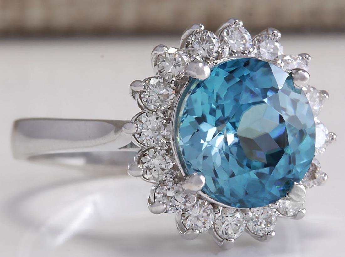 5.72CTW Natural Zircon And Diamond Ring 18K Solid White - 2