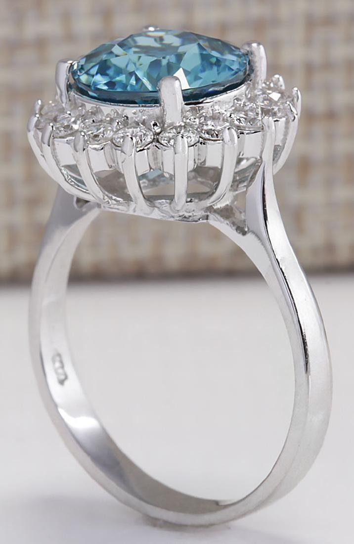 5.72CTW Natural Zircon And Diamond Ring 18K Solid White - 3