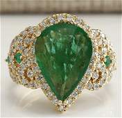 8.00CTW Natural Emerald And Diamond Ring 18K Solid