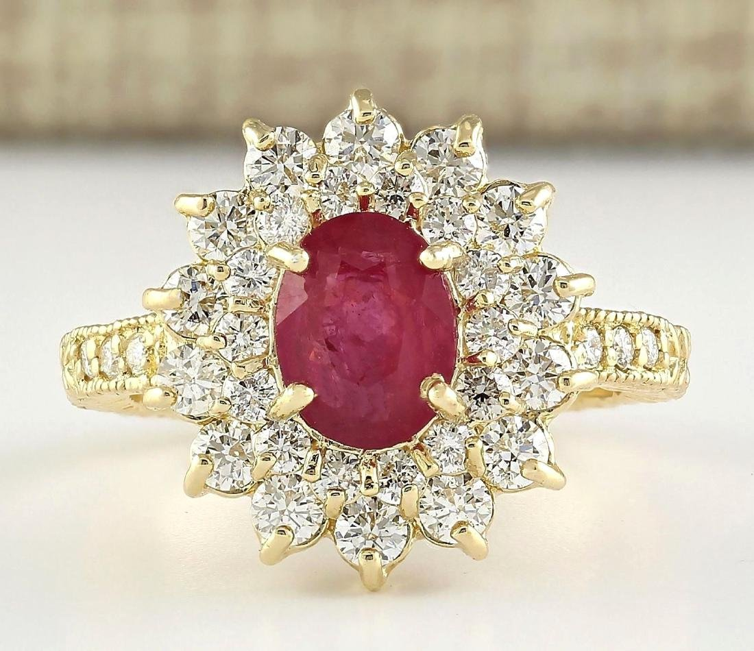2.80 CTW Natural Ruby And Diamond Ring In 18K Yellow