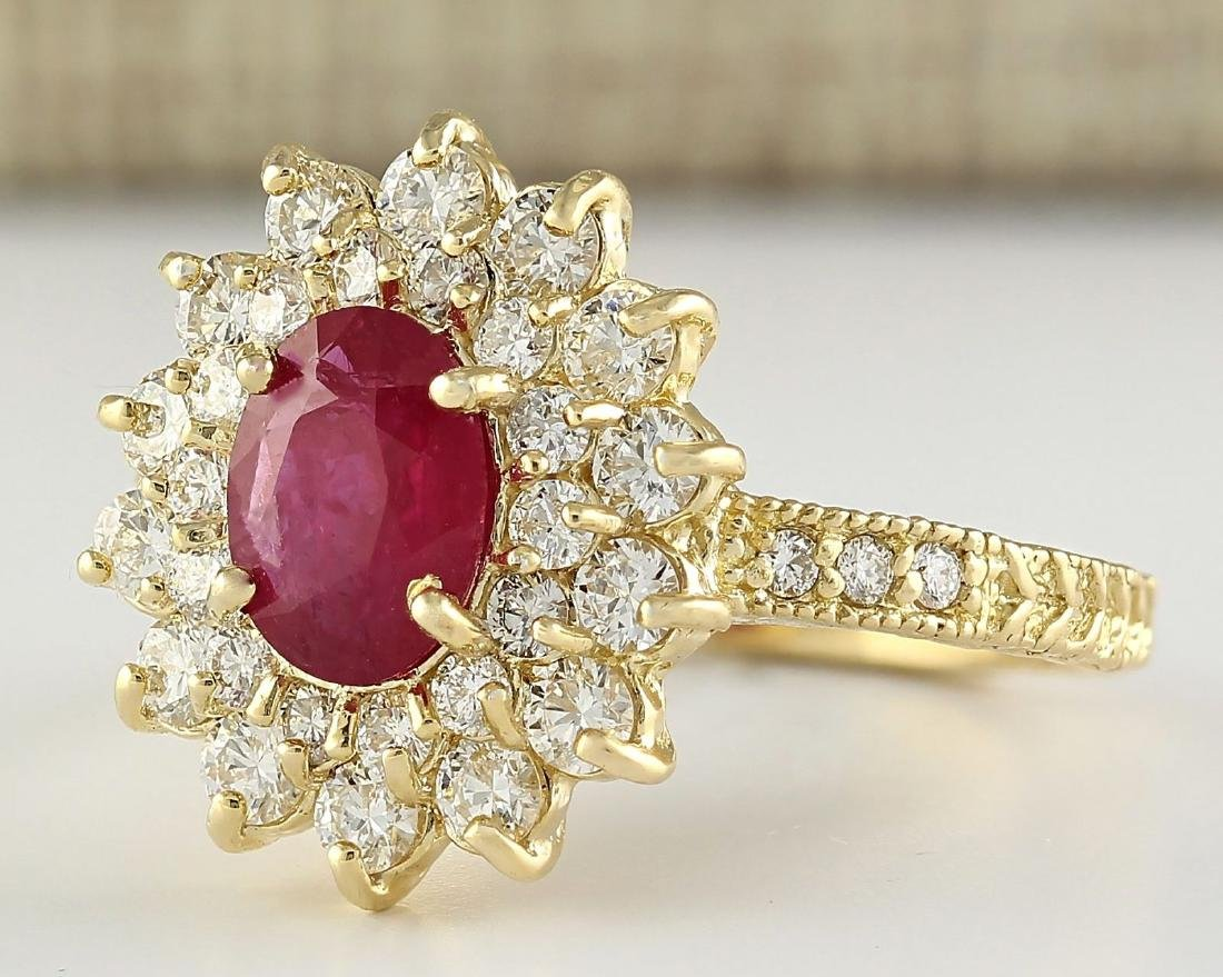 2.80 CTW Natural Ruby And Diamond Ring In 18K Yellow - 2