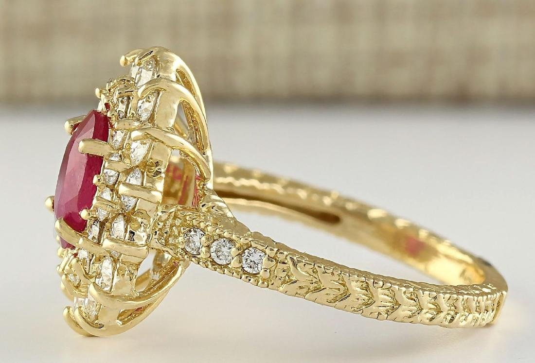 2.80 CTW Natural Ruby And Diamond Ring In 18K Yellow - 3
