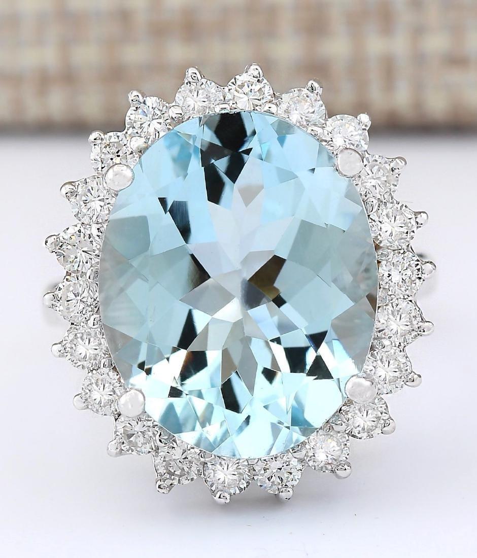 8.10 CTW Natural Aquamarine And Diamond Ring In 18K