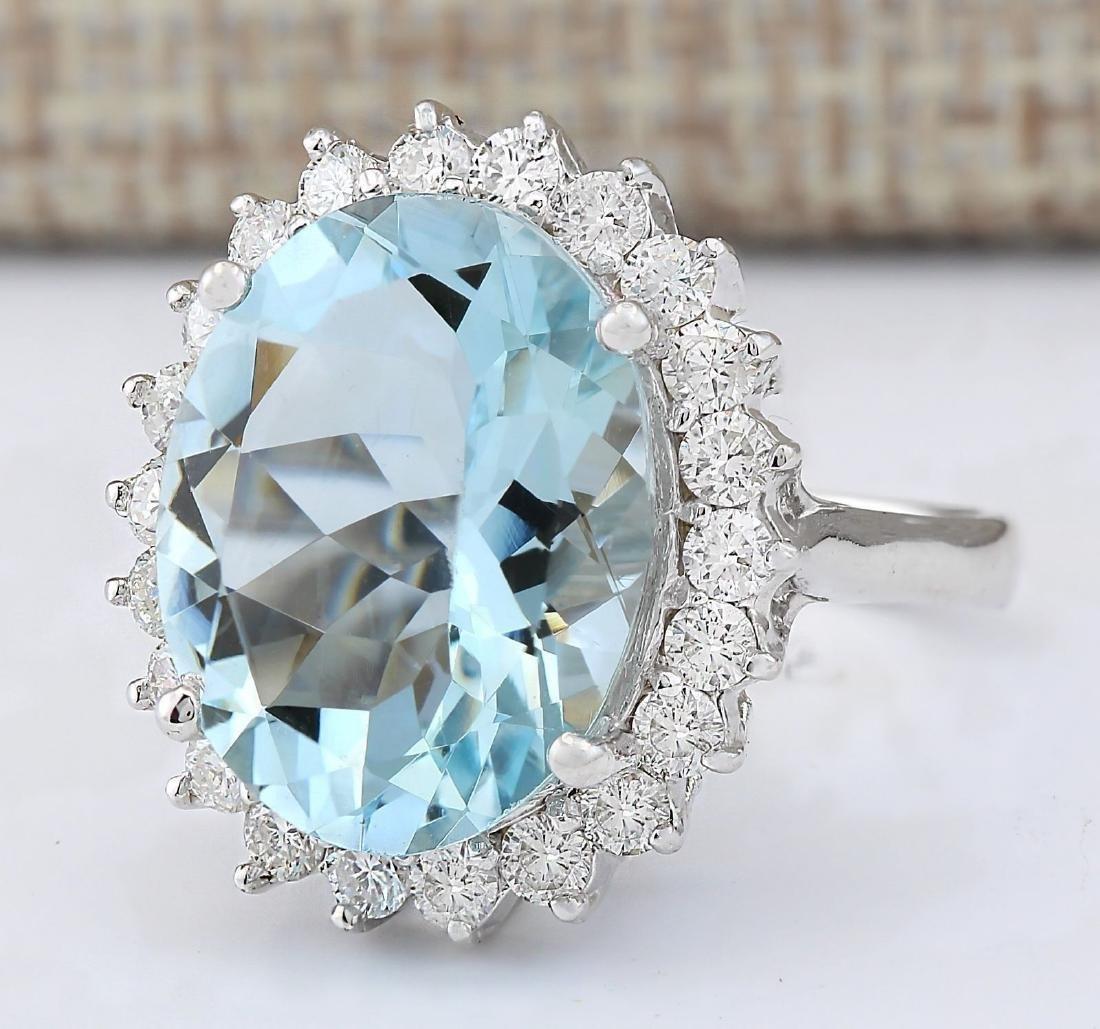 8.10 CTW Natural Aquamarine And Diamond Ring In 18K - 2