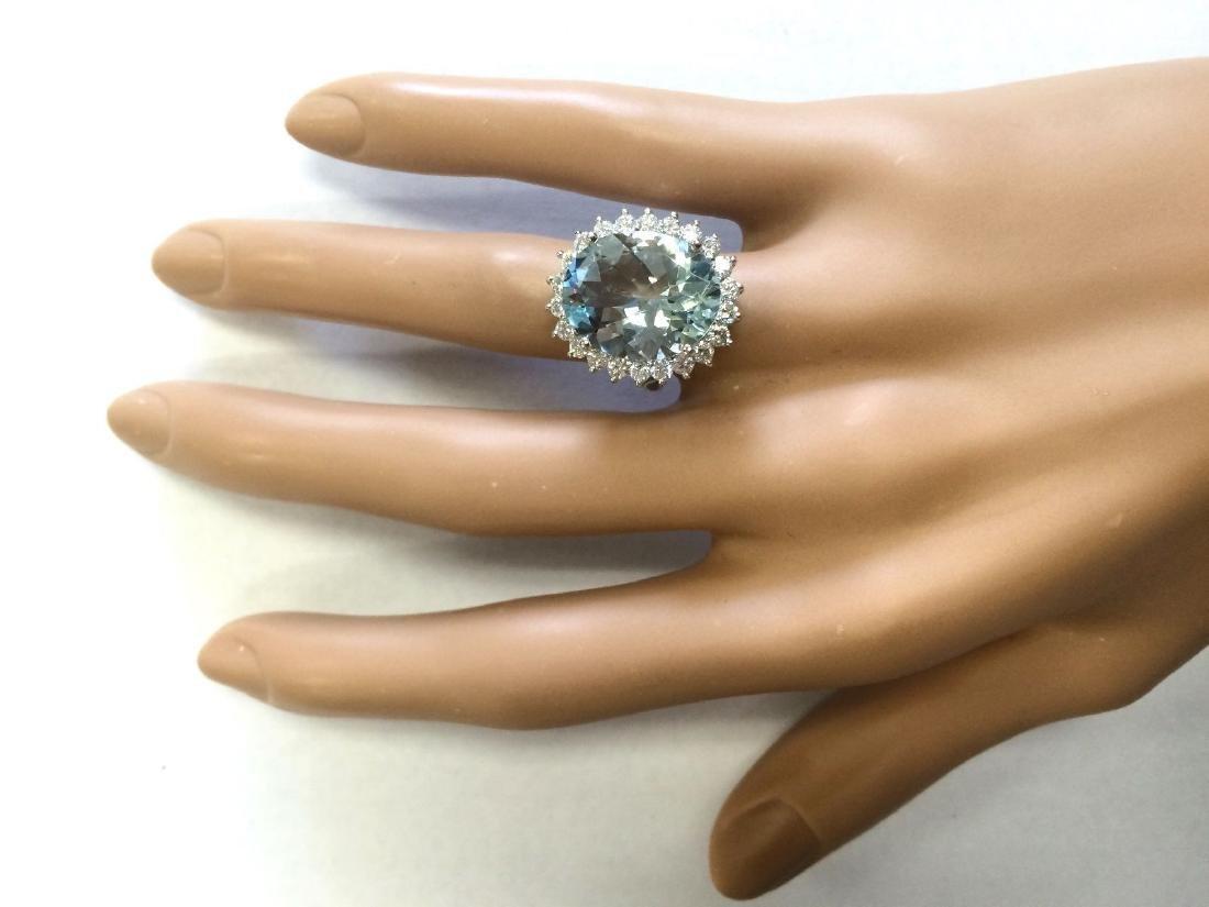 8.10 CTW Natural Aquamarine And Diamond Ring In 18K - 4