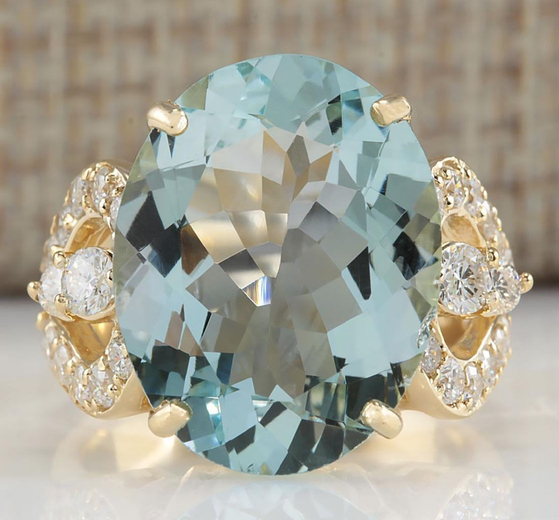 10.52CTW Natural Aquamarine And Diamond Ring In 18K