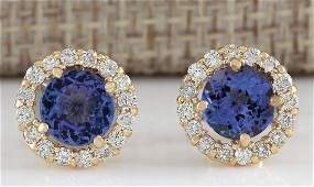 365 CTW Natural Blue Tanzanite And Diamond Earrings