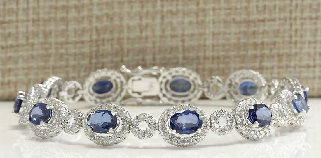 12.64CTW Natural Sapphire And Diamond Bracelet In 18K