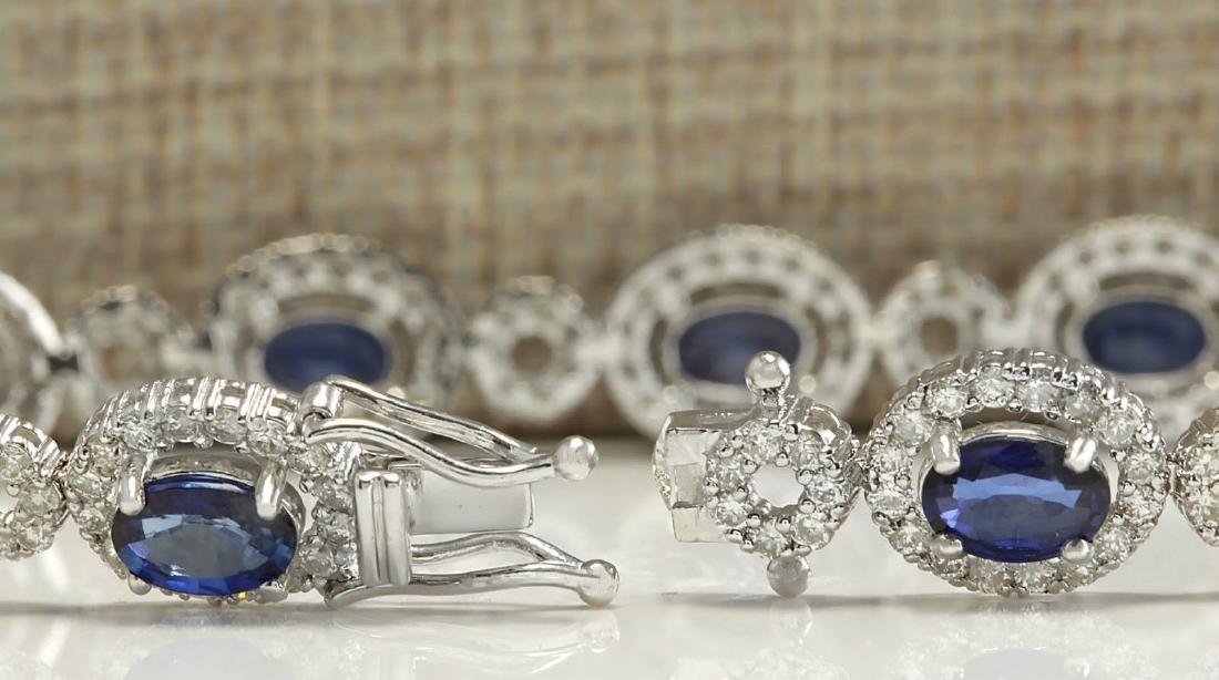 12.64CTW Natural Sapphire And Diamond Bracelet In 18K - 2