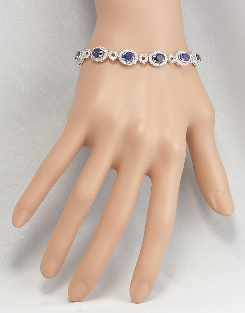 12.64CTW Natural Sapphire And Diamond Bracelet In 18K - 3