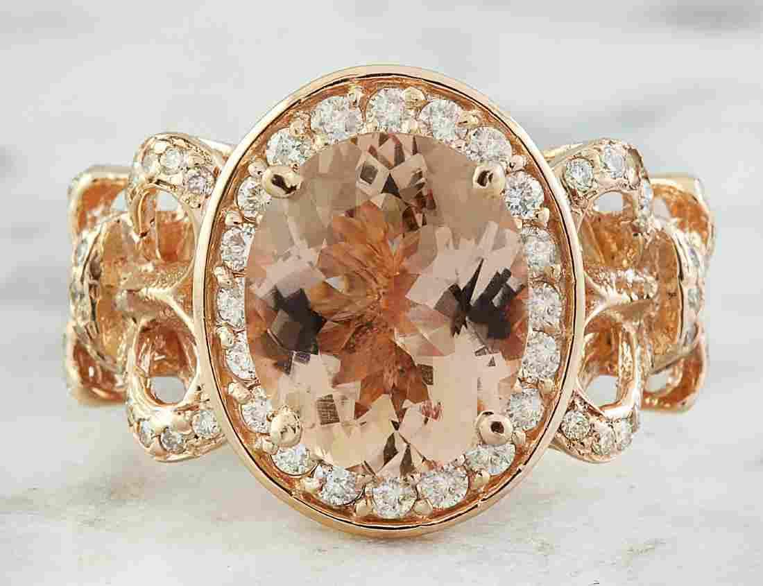 4.50 Carat Morganite 14 K Rose Gold Diamond Ring