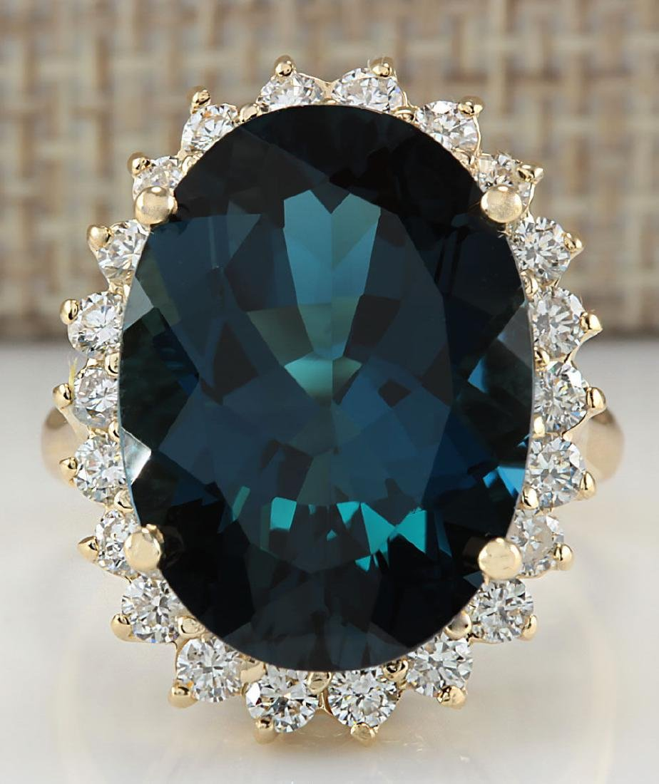 14.11CTW Natural London Blue Topaz And Diamond Ring 18K