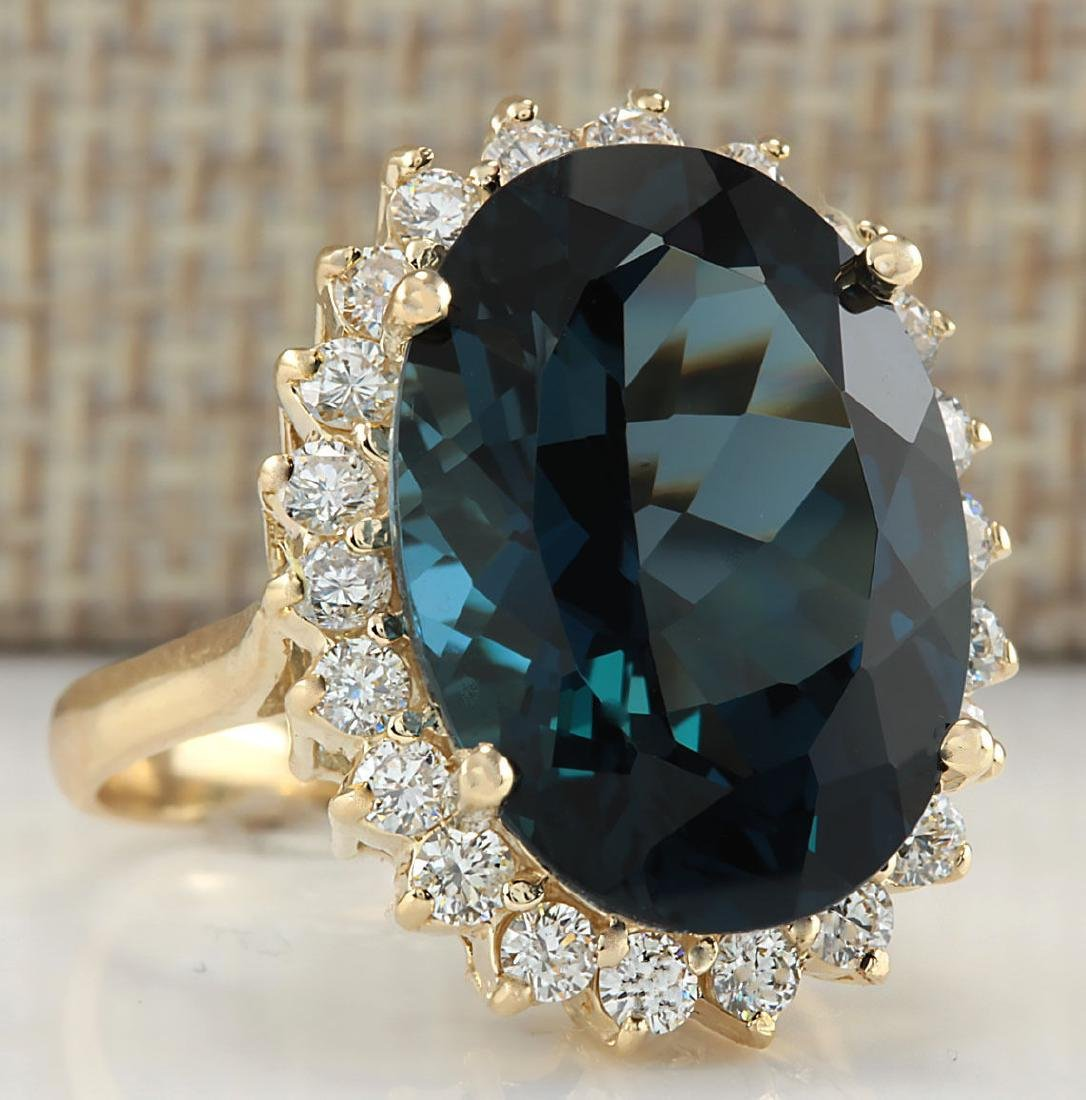 14.11CTW Natural London Blue Topaz And Diamond Ring 18K - 2