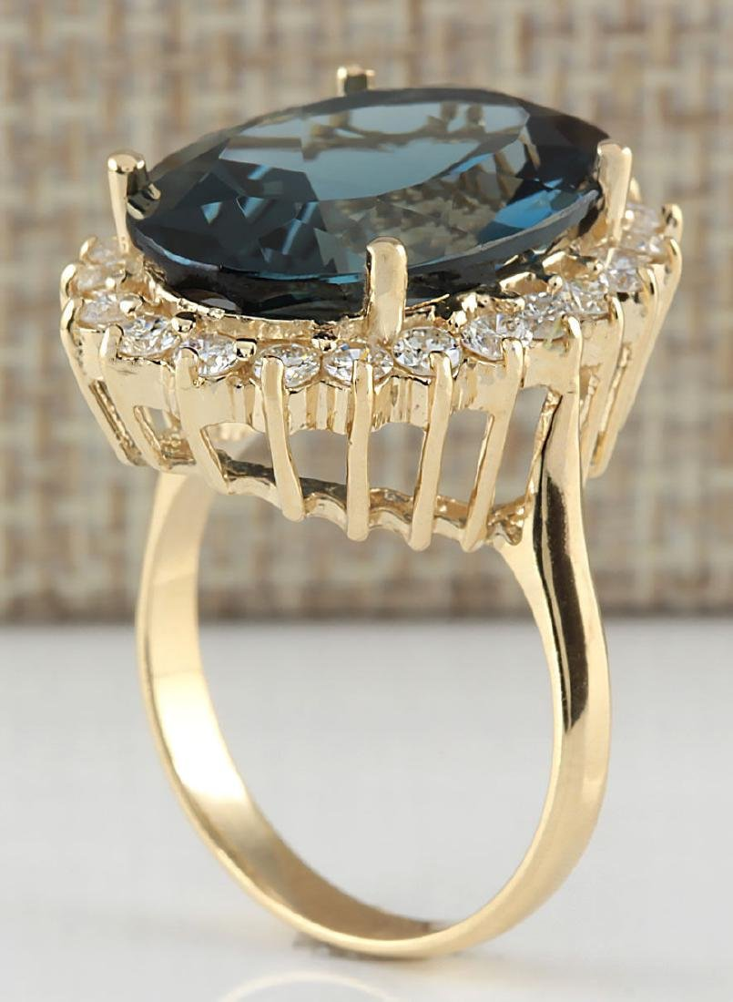 14.11CTW Natural London Blue Topaz And Diamond Ring 18K - 3