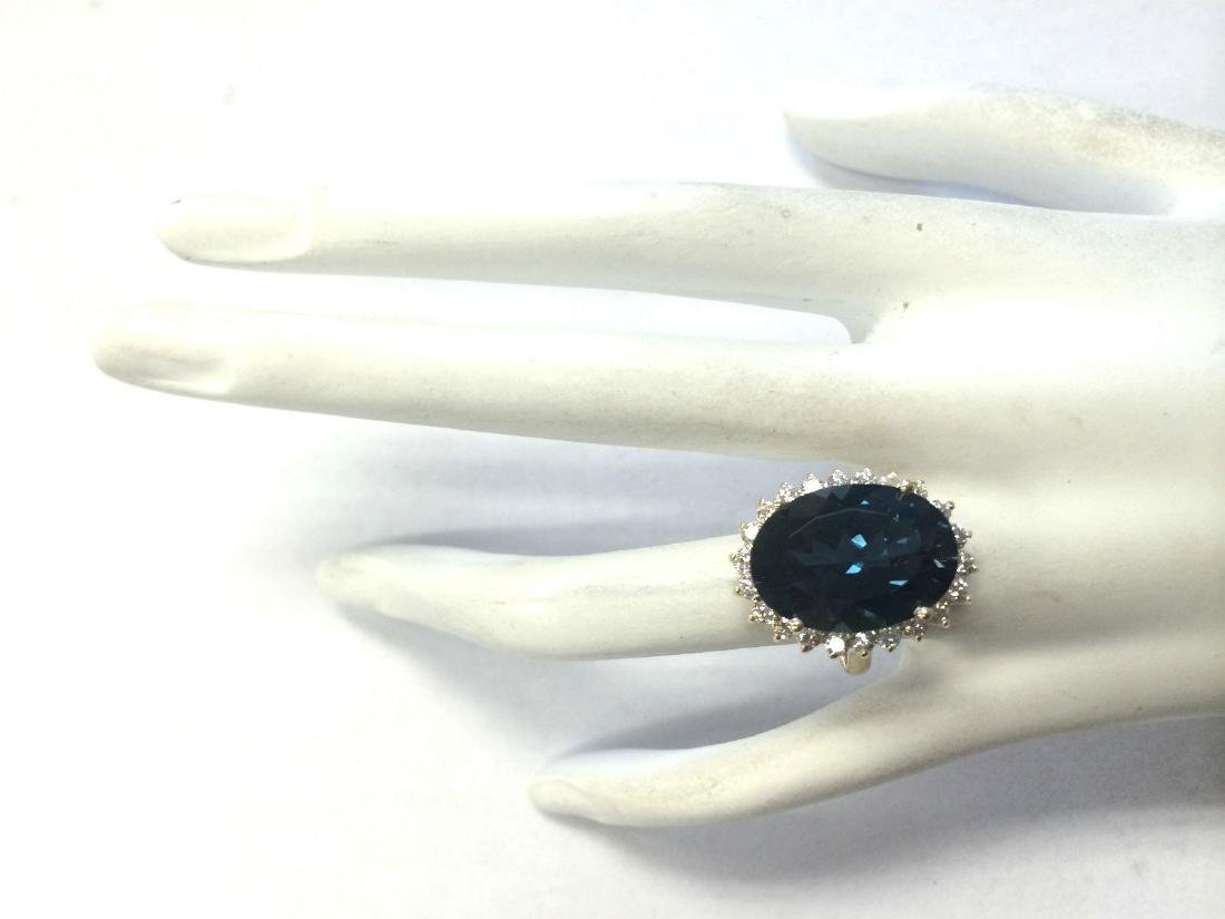 14.11CTW Natural London Blue Topaz And Diamond Ring 18K - 4