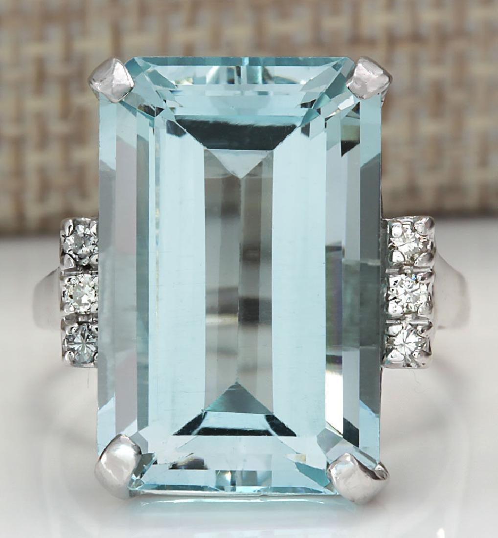 16.42CTW Natural Blue Aquamarine Diamond Ring 18K Solid