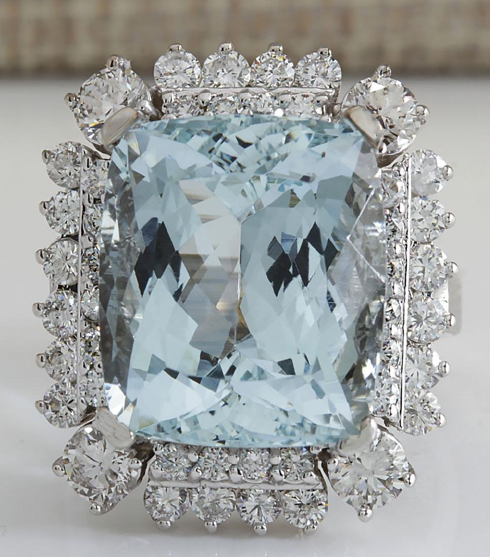 16.54Carat Natural Aquamarine And Diamond Ring In 14K