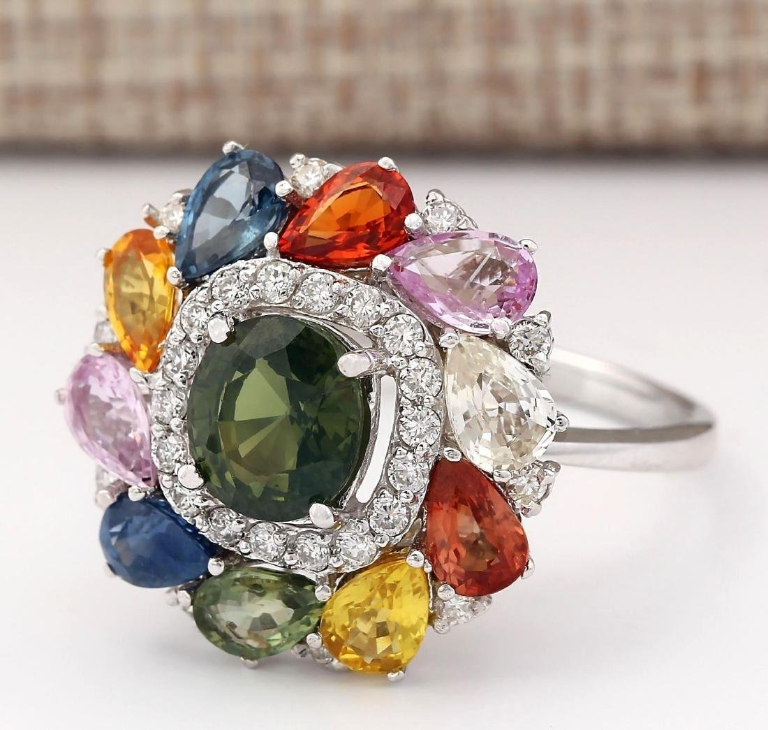 8.91 Carat Natural Sapphire And Diamond Ring In 18K - 2