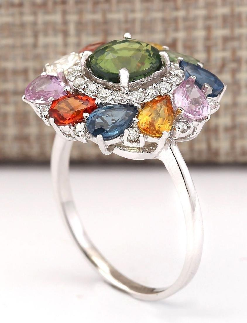 8.91 Carat Natural Sapphire And Diamond Ring In 18K - 3