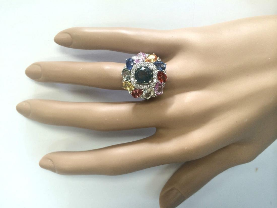 8.91 Carat Natural Sapphire And Diamond Ring In 18K - 4