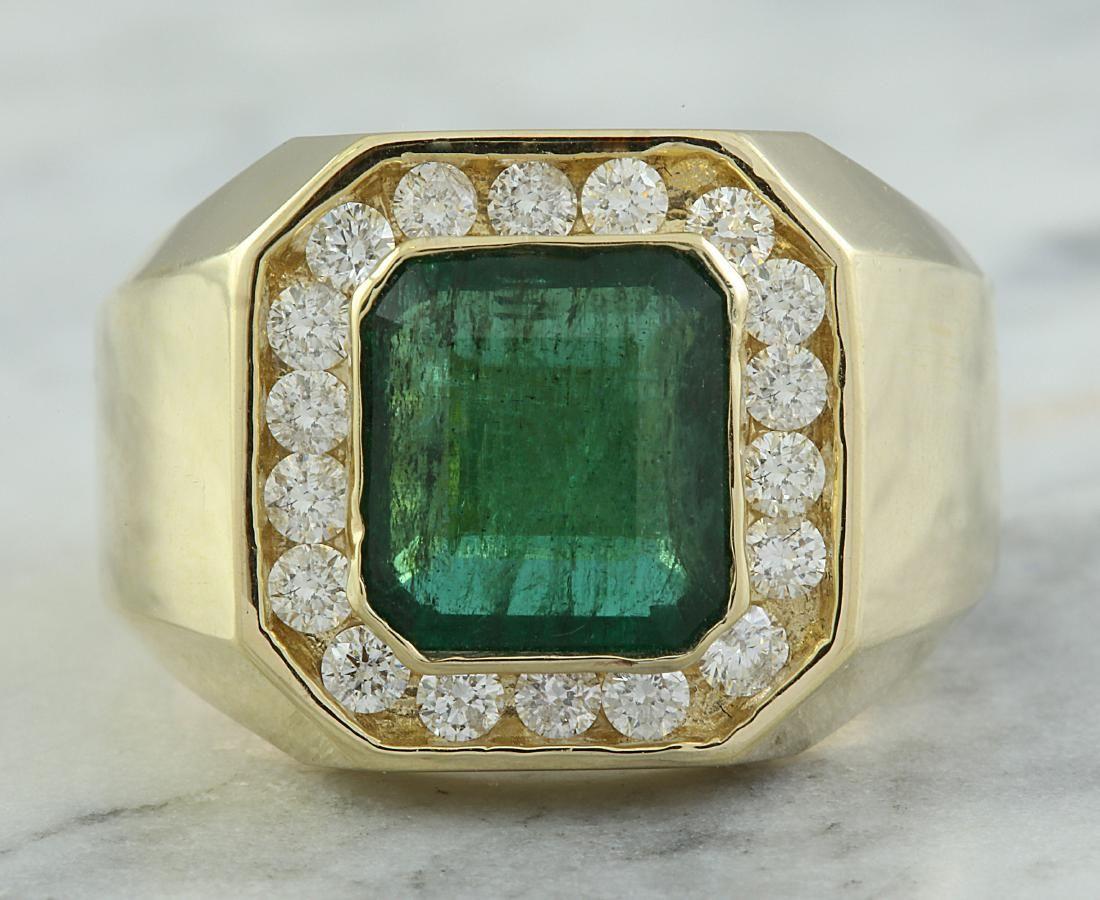 4.26 Carat Mens Emerald 18K Yellow Gold Diamond Ring
