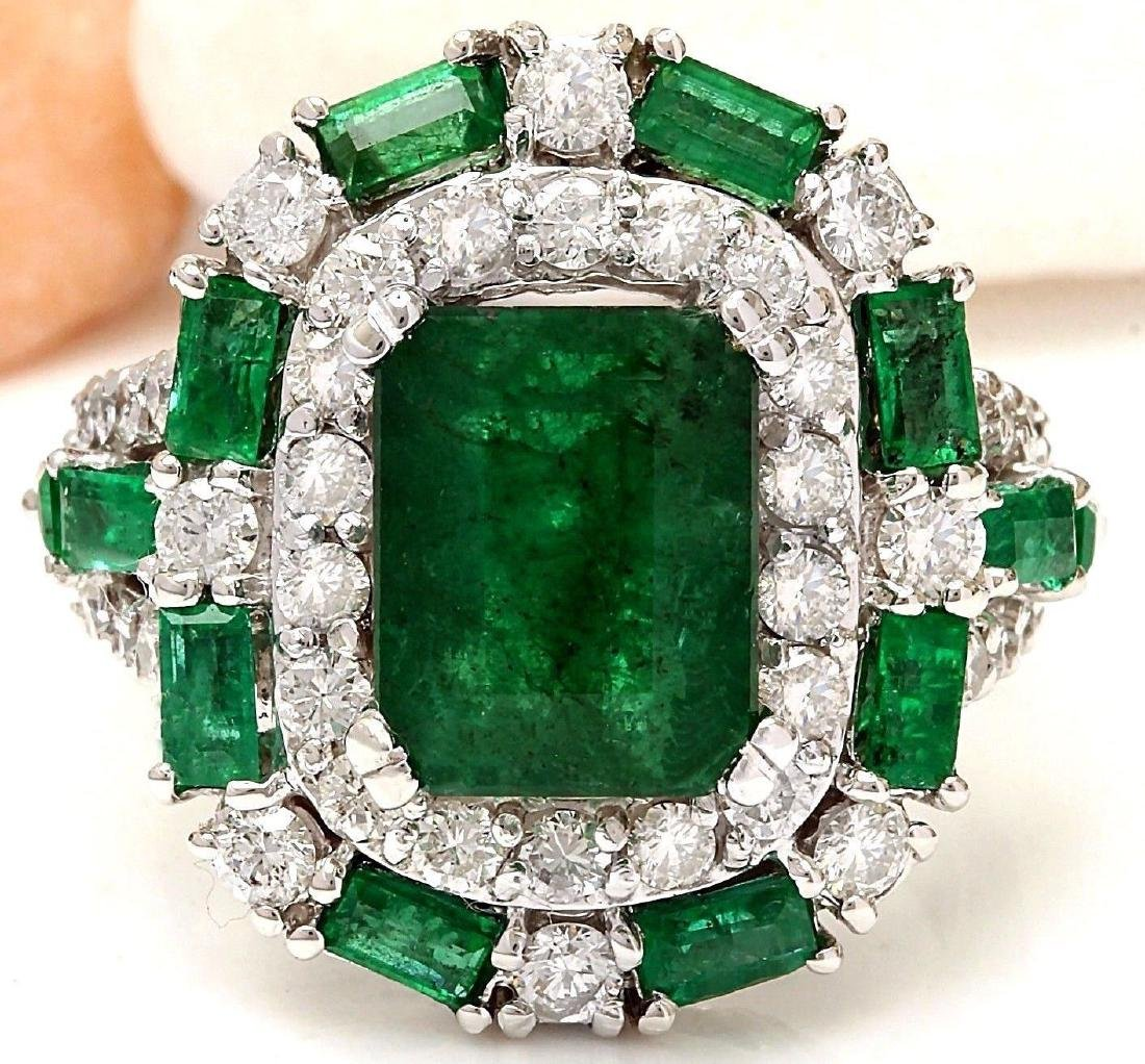 6.90 Carat Natural Emerald 18K Solid White Gold Diamond