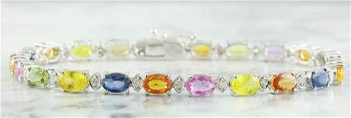 1335 Carat Sapphire 18k White Gold Diamond Bracelet