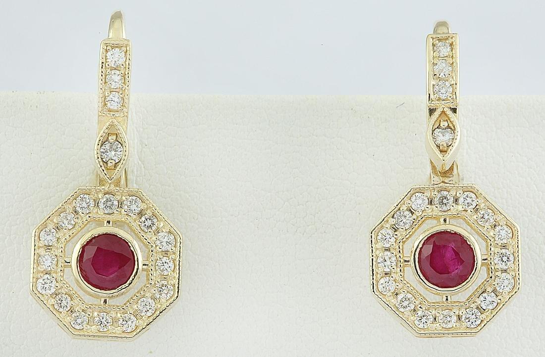1.60 Carat Ruby 18k Yellow Gold Diamond Errings