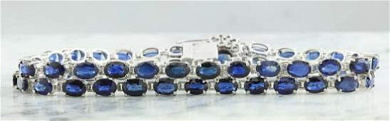 2822 Carat Sapphire 18K White Gold Diamond Bracelet