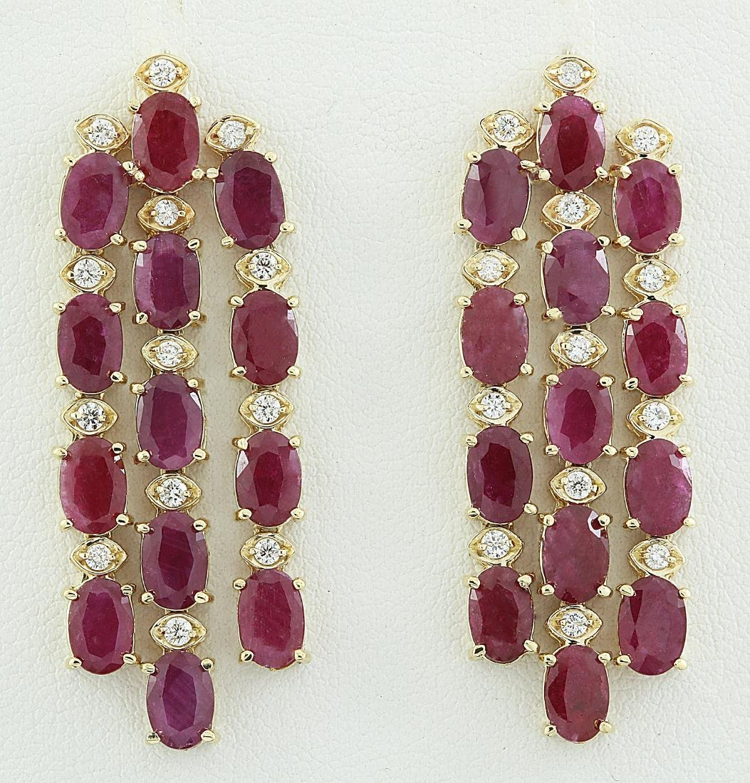15.12 Carat Ruby 18k Yellow Gold Diamond Earrings