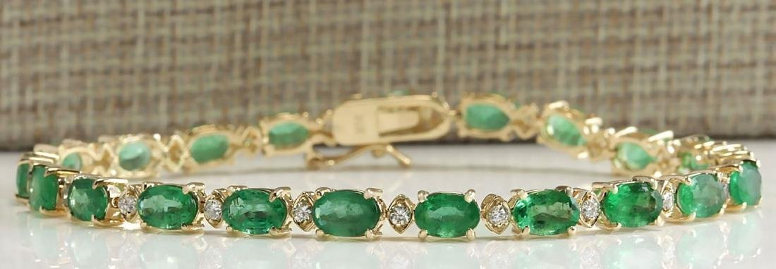 8.86CTW Natural Colombian Emerald And Diamond Bracelet