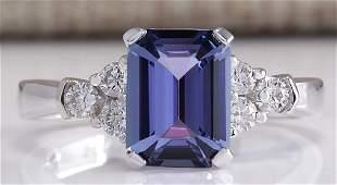 240CTW Natural Blue Tanzanite And Diamond Ring 18K