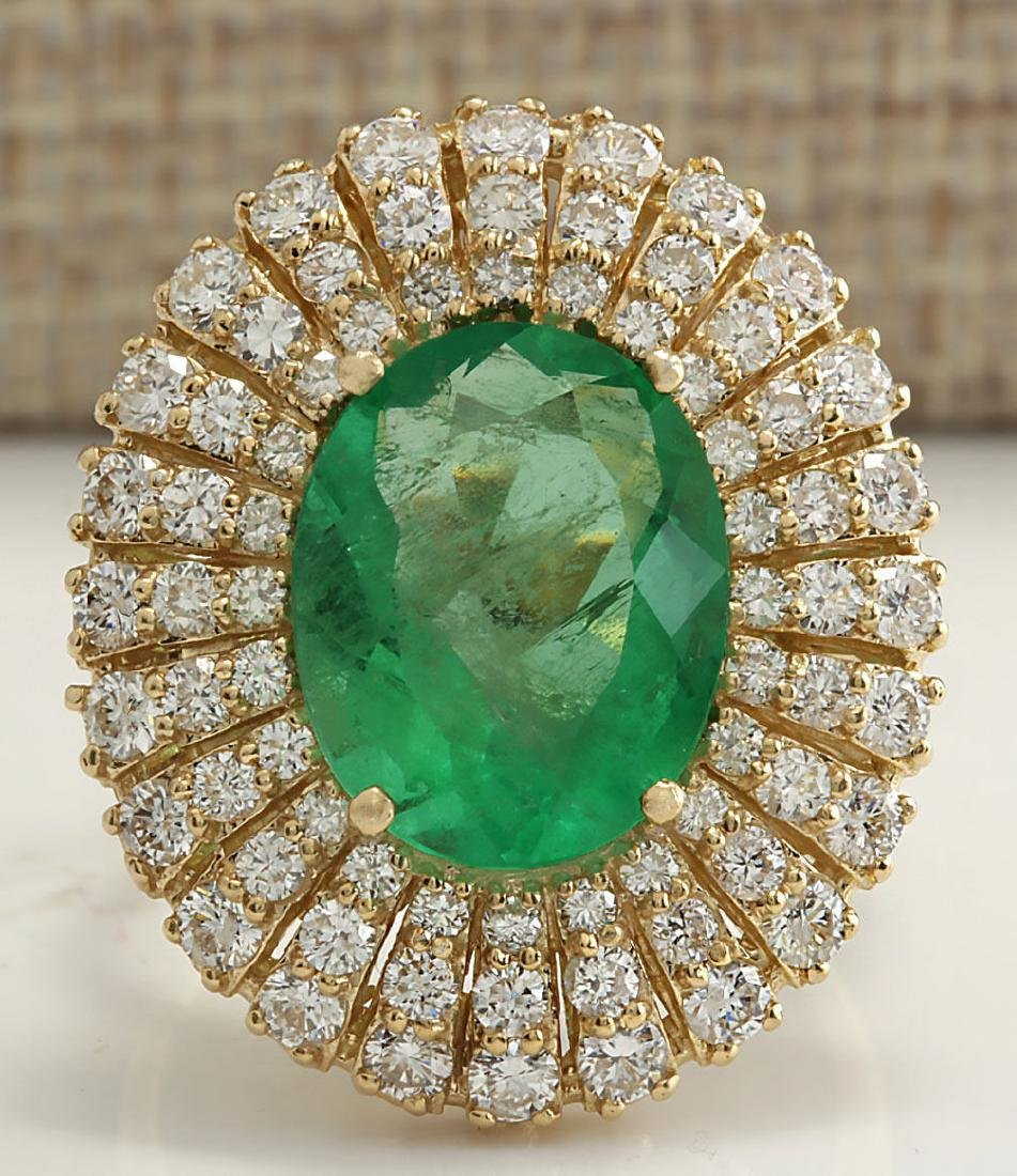 6.94CTW Natural Colombian Emerald And Diamond Ring 18K