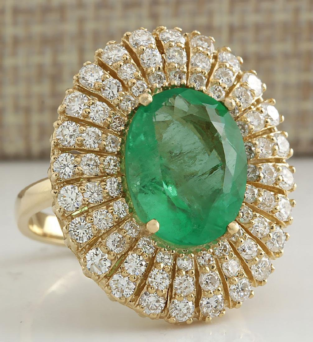 6.94CTW Natural Colombian Emerald And Diamond Ring 18K - 2