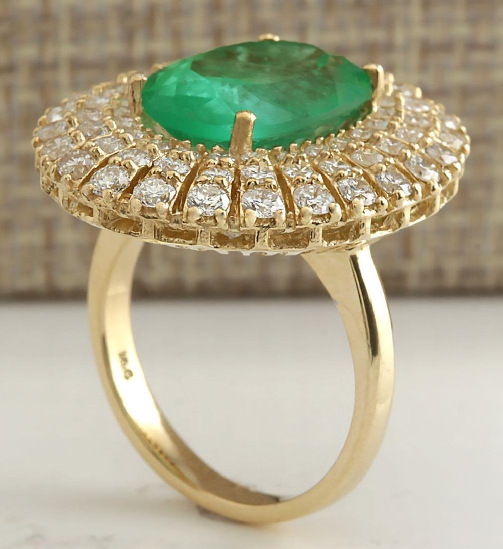 6.94CTW Natural Colombian Emerald And Diamond Ring 18K - 3