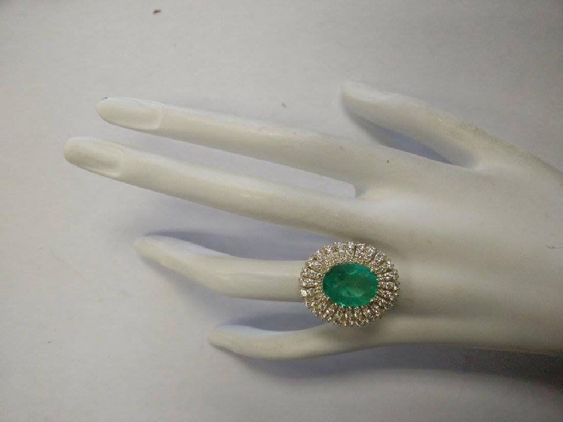 6.94CTW Natural Colombian Emerald And Diamond Ring 18K - 4